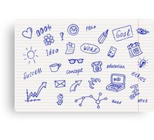Collection of business, doodle sketch objects and elements.  Canvas Print