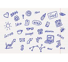 Collection of business, doodle sketch objects and elements.  Photographic Print