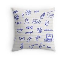 Collection of business, doodle sketch objects and elements.  Throw Pillow