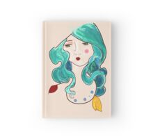 turquoise feathers in her hair Hardcover Journal