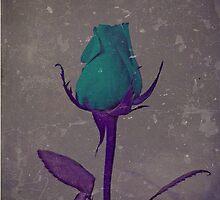 Fantasy Teal and Purple Rose Bud Art by Adri Turner
