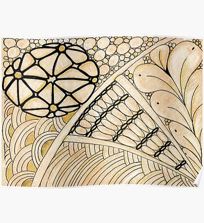 Gold Zentangle Poster