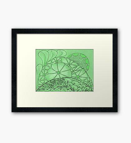 Green Zentangle Framed Print