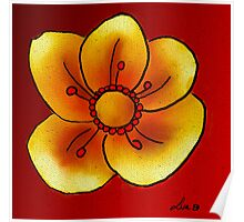 Yellow buttercup flower Poster