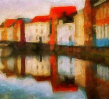 Brugge Canal side and reflections by chorando