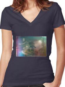 Night Rain Women's Fitted V-Neck T-Shirt