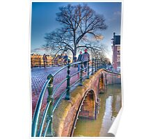 Bridge over Herengracht and beside Amstel river Poster