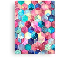 Topaz & Ruby Crystal Honeycomb Cubes Canvas Print