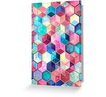 Topaz & Ruby Crystal Honeycomb Cubes Greeting Card
