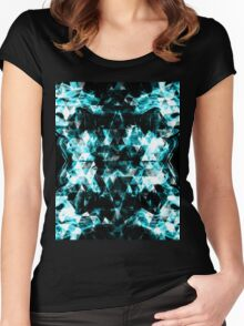 Electrifying blue sparkly triangle flames Women's Fitted Scoop T-Shirt