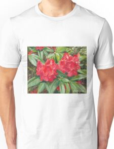 Bright Red Rhododendron Flowers Unisex T-Shirt