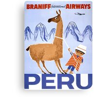 Peru Vintage Travel Poster Restored Canvas Print