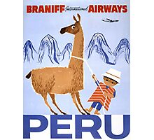 Peru Vintage Travel Poster Restored Photographic Print