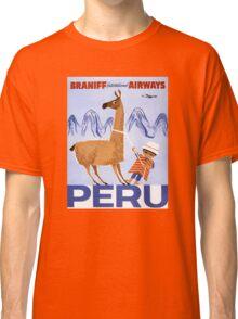 Peru Vintage Travel Poster Restored Classic T-Shirt