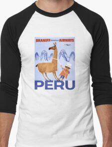 Peru Vintage Travel Poster Restored Men's Baseball ¾ T-Shirt
