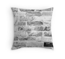 black and white brick wall Throw Pillow