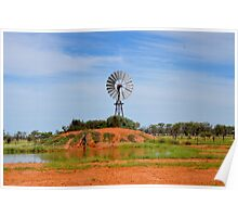 Outback Windmill (after rain) Poster