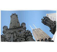 Chicago Water Tower & John Hancock Building Poster