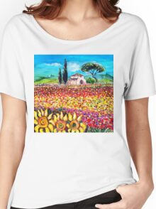 FLORA IN TUSCANY/ Flower Fields ,Poppies and Sunflowers Women's Relaxed Fit T-Shirt