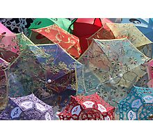 China - silk parasols in the market Photographic Print
