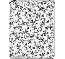 Abstract black and white floral pattern with thin leaves 2 iPad Case/Skin