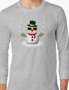 Cool Snowman with Shades and Adorable Smirk Long Sleeve T-Shirt