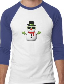 Cool Snowman with Shades and Adorable Smirk Men's Baseball ¾ T-Shirt