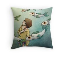 Fish Ghost Throw Pillow