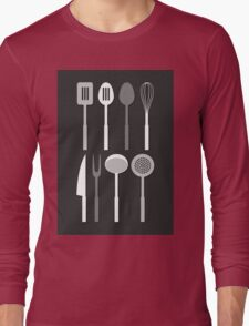 Kitchen Utensil Silhouettes Monochrome Long Sleeve T-Shirt