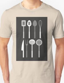 Kitchen Utensil Silhouettes Monochrome T-Shirt