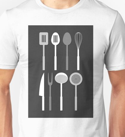 Kitchen Utensil Silhouettes Monochrome Unisex T-Shirt