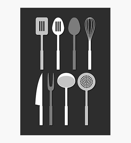 Kitchen Utensil Silhouettes Monochrome Photographic Print