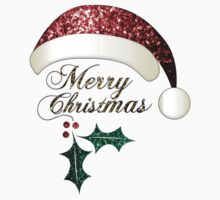 Merry Christmas Santa hat with red, gold and green sparkles Kids Clothes