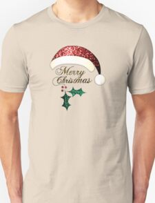 Merry Christmas Santa hat with red, gold and green sparkles Unisex T-Shirt