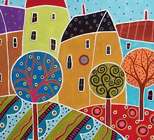 Four Houses Three Trees Landscape by karlagerard