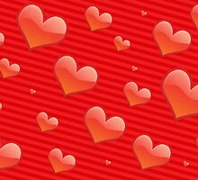 Love, Romance, Hearts, Stripes - Red by sitnica