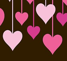 Hanging Hearts - Brown Pink by sitnica