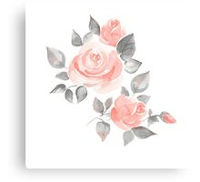 Beautiful roses. Hand-drawn  watercolor flowers  Canvas Print