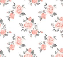Beautiful roses. Hand-drawn watercolor floral pattern by Gribanessa