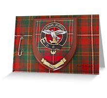 Hay Crest on Kilt - Ancient Tartan colours Greeting Card