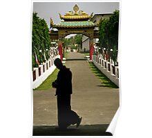 monk walking. buddhist monastery, northern india Poster