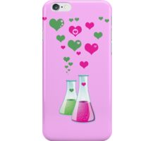 Chemistry Flask, Lab Glassware, Heart - Pink Green iPhone Case/Skin