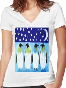 PENGUIN CONVERSATION Women's Fitted V-Neck T-Shirt