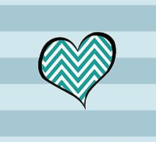 Heart, Zigzag Pattern, Chevron Pattern - White Blue by sitnica