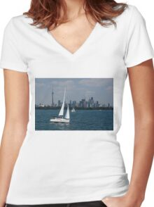 Summer Sailing Postcard from Toronto Women's Fitted V-Neck T-Shirt
