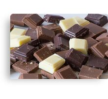 Mixture of Different Colour Chocolate Blocks Canvas Print