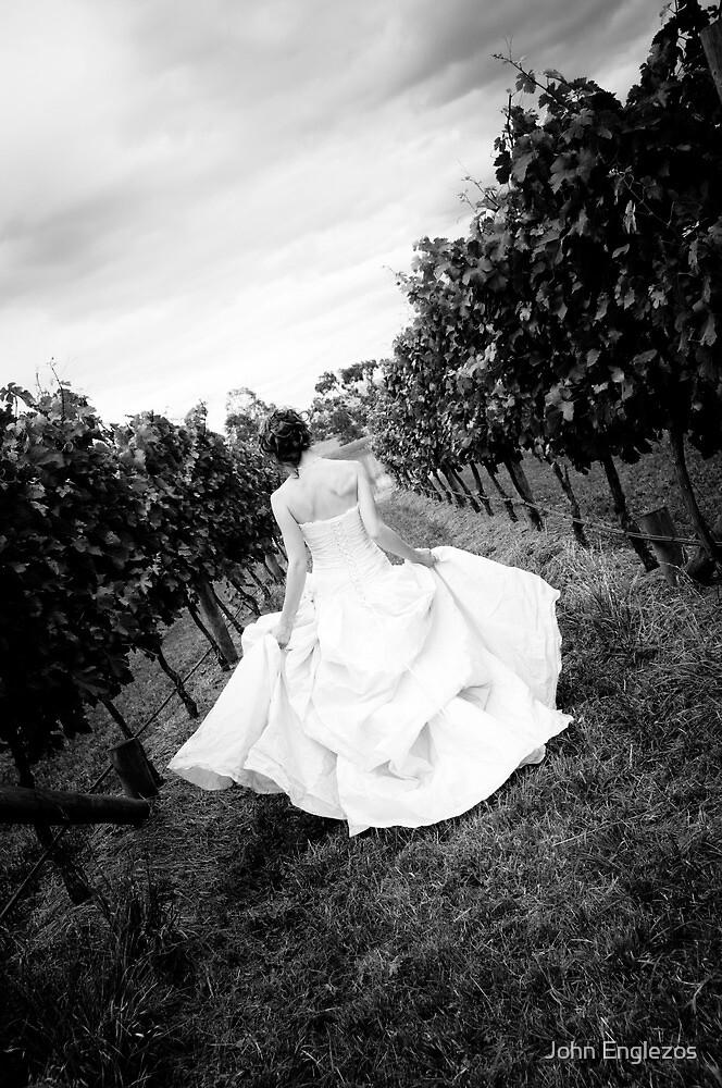 A bride making her way down through a vineyard by John Englezos