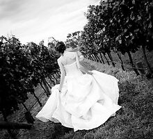 A bride making her way down through a vineyard by John Englezos