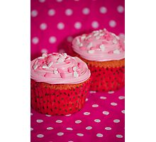 Pink heart cupcakes Photographic Print