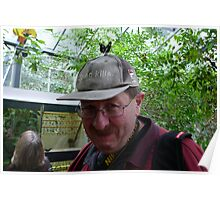 Silly Old Fart With a Butterfly on his Head. Poster